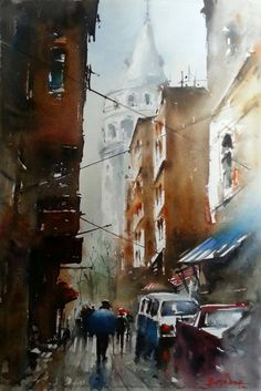 Burhan Özer Watercolor Artists, Drawing Sketches, Sketching, Urban Art, Dd, Istanbul, Watercolors, Vacations, Buildings