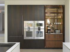 Roundhouse bespoke cabinetry in Fumed Eucalyptus vertical grain veneer and vertical grain Walnut veneer