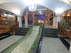 The beautiful Dining Room of the Jamshid Hotel, the best Hotel in Kirmaşan City. Also interesting: This Hotel is located in the immediate vicinity of the historical site of Taq-e-Bostan.