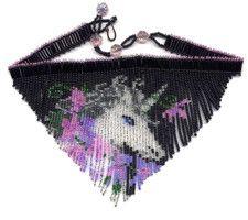 Unicorn Fringe Necklace : Beading Patterns and kits by Dragon!, The art of beading. Beaded Chocker, Beaded Braclets, Seed Bead Bracelets, Seed Bead Earrings, Beaded Earrings, Beaded Jewelry, Seed Beads, Bracelet Patterns, Beading Patterns