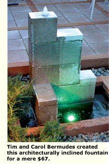 Inexpensive water fountain idea