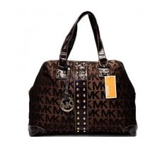 Discounts Cheap Michael Kors Logo-Print Large Brown Totes Outlet Online.