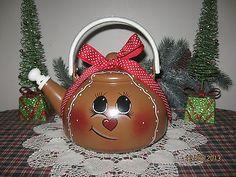 OOAK* Hand-painted Vintage Enamelware Tea Kettle/Pot* Gingerbread Man/Girl*