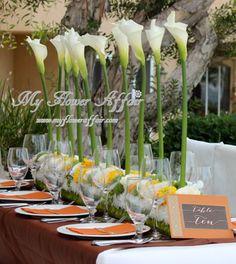 Calla lily wedding flowers by My Flower Affair Calla Lily Wedding Flowers, Winter Wedding Flowers, Calla Lilies, Wedding Flower Arrangements, Cut Flowers, Guava Wedding, Cream Wedding, Pavilion Wedding, Wedding Reception
