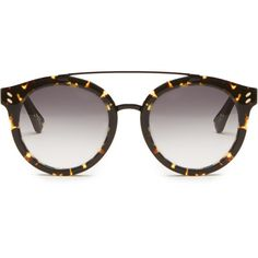 Stella McCartney Round-frame acetate sunglasses ($208) ❤ liked on Polyvore featuring accessories, eyewear, sunglasses, tortoise glasses, tortoise sunglasses, tortoiseshell glasses, round frame sunglasses and tortoise shell glasses
