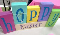 Hoppy Easter - Spring or Easter Decor - Wood Blocks Ready to ship, make a great Teacher Gift! on Etsy, $23.10