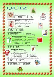 English worksheet: Christmas Quiz