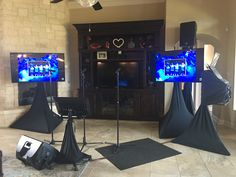 with Dual monitors for audience and screen and audio monitor Stage Lighting, Lighting System, Karaoke System, Projection Screen, Screen Size, Building Ideas, Birthday Celebration, Monitor, Audio