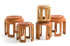 Perfect for gatherings (the stools are stored in one another to conserve space) ||||||| bamboo furniture by taiwanese studio scope design