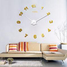 Home English Letters Quartz Wall Clock Arror Style Modern DIY Acrylic Mirror Self-adhensive Stickers Big Wall Clock Big Wall Clocks, Wall Clock Wooden, Diy Clock, Acrylic Mirror, Wall Sticker, Decorating Your Home, Wall Art Decor, Quartz, Letters