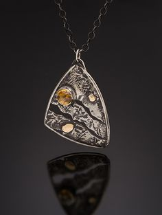 """Sun and Sand"" pendant. reticulated sterling silver, 14K gold, citrine. MJ Sandman."