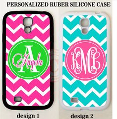 TEAL GREEN PINK CHEVRON MONOGRAM Case COVER For Samsung Galaxy S7 S6 S5 NOTE 5 4 #UnbrandedGeneric