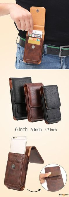 Man Business PU Phone Wallet Card Bag Wallet Purse Dual Use Waist Bag bba08fab132