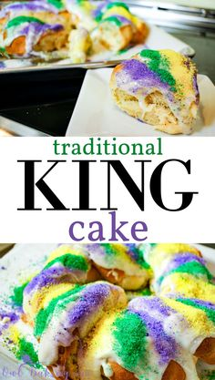 A traditional King Cake is my favorite way to celebrate the Mardis Gras holiday. The soft, fluffy, layered, yeast dough sets the perfect foundation for a sweet, smooth frosting. Mardi Gras Desserts, Mardi Gras Food, Köstliche Desserts, Delicious Desserts, Dessert Recipes, Yummy Food, Mardi Gras Party, Mardi Gras Cake Recipe, Easy Cake Recipes