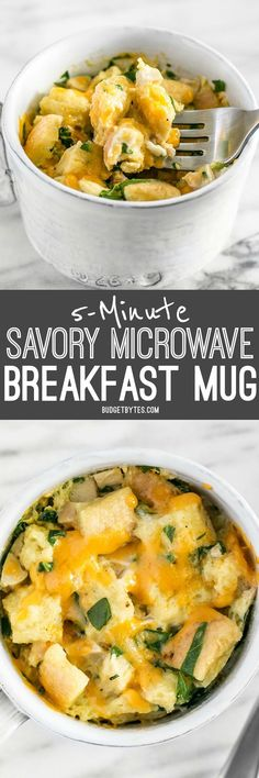 Use the leftovers in your fridge to make this delicious and filling 5 Minute Savory Microwave Breakfast Mug. Fast and easy! BudgetBytes.com