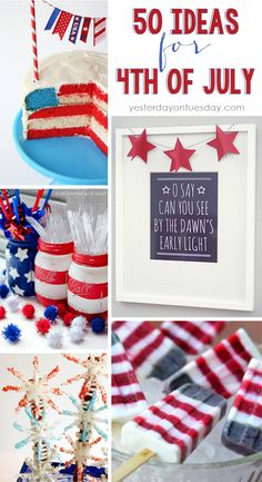 Fourth of July Crafts, DIYs and Recipes...I love the parade, the fireworks, the decorations… everything! Here are fifty ideas for 4th of July. They would also be perfect for Memorial Day! There is loads of inspiration here.