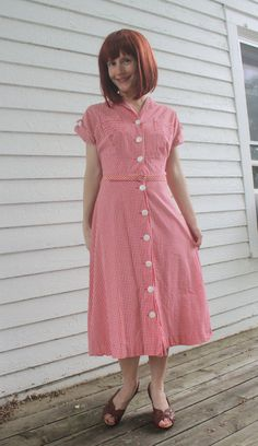 Vintage 50s Red Gingham Dress Brentwood Cotton Print by soulrust, $69.99