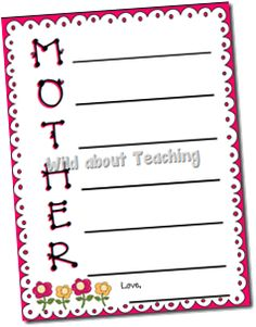 Mother's Day Writing Freebie..So awesome! (great idea for Father too!)
