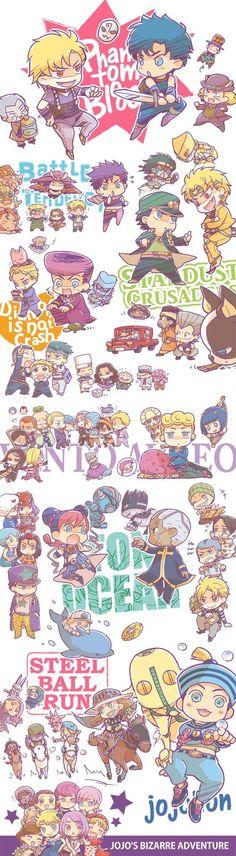 The Entire JoJo series.except cute versions. Manga Anime, Fanarts Anime, Jojo's Bizarre Adventure Anime, Jojo Bizzare Adventure, Bizarre Art, Jojo Bizarre, Joestar Jotaro, Photos Des Stars, Jojo's Adventure