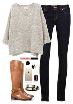 """//sweater"" by thegingerprep ❤ liked on Polyvore featuring J Brand, Tory Burch, Kate Spade, Bobbi Brown Cosmetics and Essie"