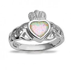 Bling Jewelry 925 Sterling Silver Claddagh Opal Gemstone Heart Ring