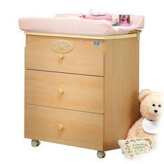 Baby Wickeltisch mit Badewanne Tommy - Mobile Wickelkommode mit 3 Schubfächern und integrierter Badewanne. Gepolsterter Wickelaufsatz.