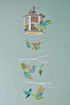 DIY crib mobile, birds