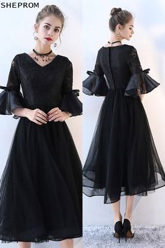 Shop Lace Vneck Tulle Black Homecoming Dress with Trumpet Sleeves online. SheProm offers formal, party, casual & more style dresses to fit your special occasions. Long Sleeve Homecoming Dresses, Plus Size Prom Dresses, Prom Dresses Online, Modest Dresses, Midi Dresses, Formal Dresses, Party Dresses, Dress Brokat Modern, Look Girl