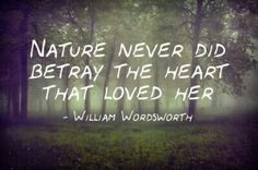 """Nature never did betray the heart that loved her."" - William Wordsworth"