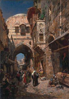 King David Street, Jerusalem 1 by Gustav Bauernfeind - Jewish Art Oil Painting Gallery Old Egypt, Egypt Art, Oil Painting Gallery, Arabian Art, Islamic Paintings, Fantasy City, Medieval Life, Great Paintings, Jewish Art
