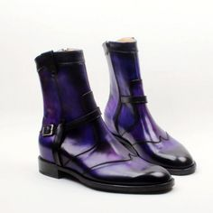 cie Round Toe W-tips Zip Handmade Hand-painted Purple Calf Leather Men's Boot Breathable Bottom Outsole Ankle Shoes, Suede Shoes, Cow Leather, Leather Heels, Buy Shoes, Men's Shoes, Exclusive Shoes, Purple Shoes, Clothes