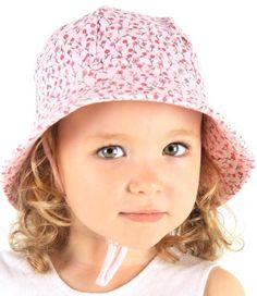 Girls Baby Bucket Hat - Penny Print with Strap - Blush. Available in 3 sizes from birth. Rated UPF50+ Excellent Protection.  http://www.bedheadhats.com.au/penny-print-baby-bucket-hat-with-strap-blush
