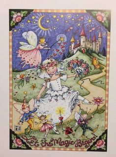 Vintage Mary Engelbreit Let The Magic Begin Clip Art Repurpose Calendar Page