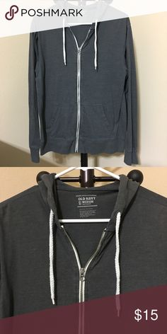 Old Navy Jersey Hoodie for Men Size: MEDIUM  Color: Dark Grey  -Drawstring hood. -Long sleeves. -Hand-warming pockets. -Full-length zipper from hem to neck. -Soft, lightweight jersey.  Good condition ! Thanks for shopping @toowendy ! 😊 Old Navy Jackets & Coats Lightweight & Shirt Jackets