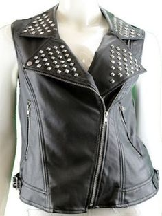 JUNIORS STUDDED SLEEVELESS BIKER VEST JACKET