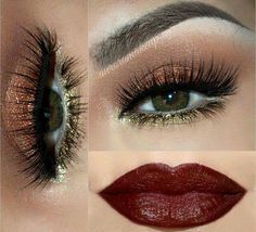 Copper and olive makeuo eyes