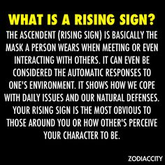 "My understanding of a ""Rising Sign"" is that its the sign on the 1st house cusp of your personal horoscope. This being is the face you show the general public or rather how others see you.  AKA your ""Astrological Mask.""  I believe my ascendant is Aquarius ..."