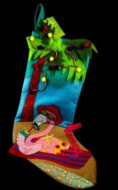 Pink FLAMINGO Christmas Holiday Stocking NWT Bikini Palm Tree Coconuts Beach NEW