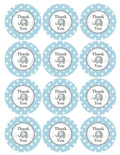 Thank You Favor Tags Elephant Printable Baby Shower Birthday Thank You Favors Powder Blue Grey Party