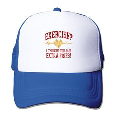 Summer Unisex Exercise I Thought You Said Extra Fries! polyester Mesh Hat Vintage 3D Print baseball Hats Adjustable Snapback