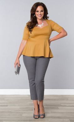 Plus Size Clothing for Women -  Limited Edition Twinkle Ponte Peplum Top - Marigold Shimmer  SHOP www.curvaliciousclothes.com