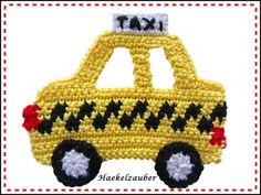 Handgehäkelter Taxi ca.: breite 11cm x höhe ca.: 9,5cm    Diese Applikationen kann man annähen auf Taschen,Kissen,Babydecke, Kinderkleidung, Karten ... usw.  100% Baumwolle, Handwäsche bis 30°