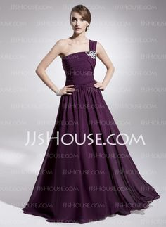 Evening Dresses - $200.00 - A-Line/Princess One-Shoulder Sweep Train Chiffon Charmeuse Evening Dresses With Ruffle (017014562) http://jjshouse.com/A-line-Princess-One-shoulder-Sweep-Train-Chiffon-Charmeuse-Evening-Dresses-With-Ruffle-017014562-g14562