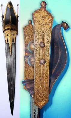 Indian katar, 17th century with original gold decoration.
