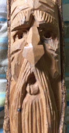 Hand Crafted Wood Whittled In Mts Of NC Bearded Man Face 9 Inches Tall #Americana