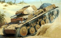 German light tank Panzer II in North Africa. Tank has 20 mm auto-cannon.