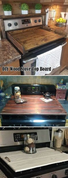 Wood stove top board will create a clean look in your kitchen and still has its function