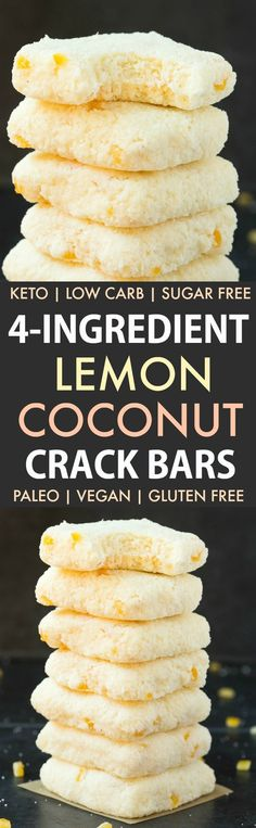 No Bake Lemon Coconut Crack Bars (Paleo Vegan Keto Sugar Free Gluten Free)-An Easy healthy and seriously addictive lemon coconut bars recipe using just 4 ingredients and needing 5 minutes! A delicious keto dessert or snack! Sugar Free Desserts, Low Carb Desserts, Vegan Desserts, Low Carb Recipes, Coconut Recipes Healthy, Healthy Lemon Desserts, Sugar Free Snacks, Healthy Bars, Healthy No Bake