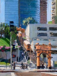 Alex Schaefer, angel's flight | plein air, oil on canvas, 24 by 18