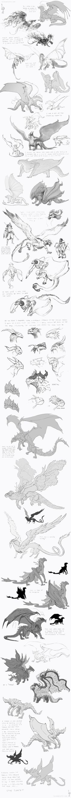 continuing my previous post, these are Concept Sketches done early The project was cancelled, so they let me post as long as I don't give any information about it and the Company behind the project. Heres 3 weeks of sketch explorations, Magical Creatures, Fantasy Creatures, Dragon Poses, Dragon Anatomy, Cool Dragons, Dragon Design, Creature Concept, Dragon Art, Creature Design